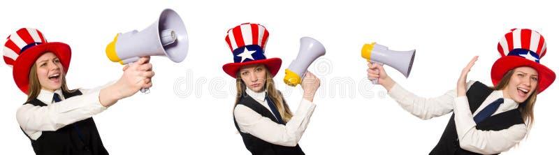 Il collage con la donna ed il cappello americano fotografia stock libera da diritti
