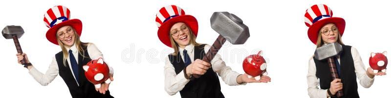 Il collage con la donna ed il cappello americano immagine stock