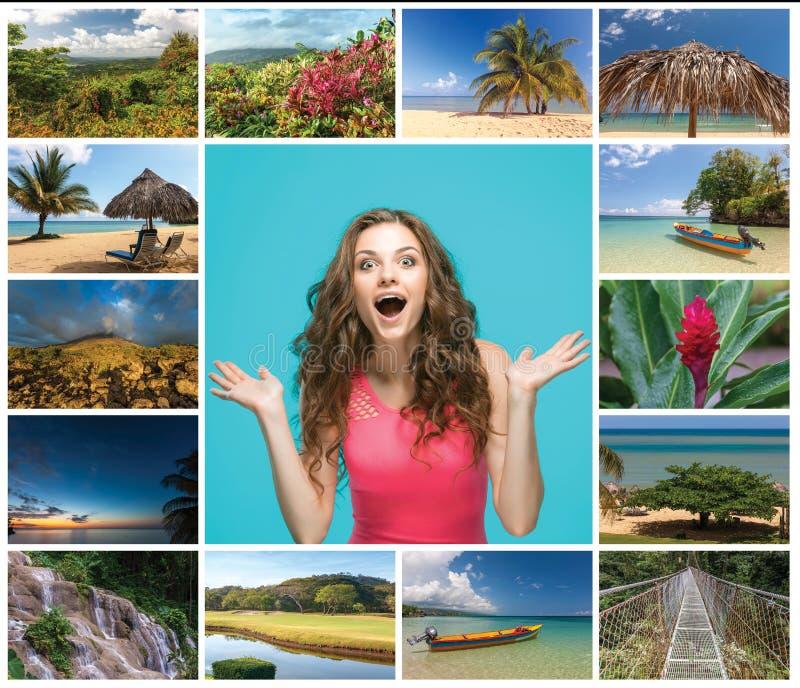 Il collage con la giovane donna felice ed i punti di vista di Costa Rica con il vulcano di Arenal nei precedenti immagini stock libere da diritti