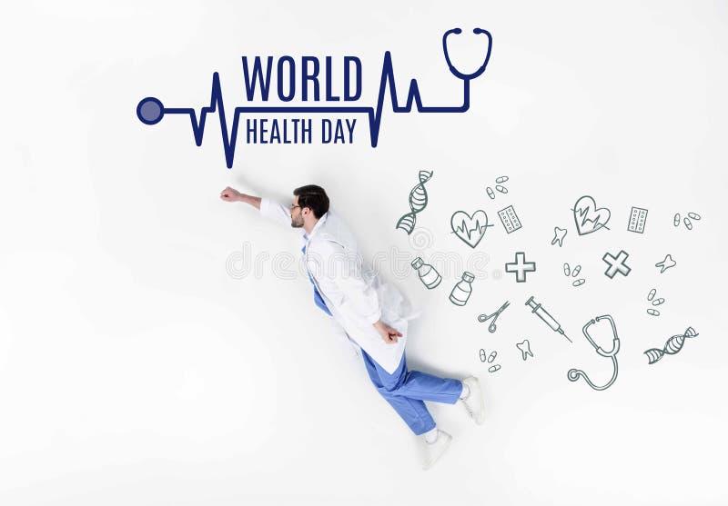 il collage creativo del volo di medico gradisce l'eroe eccellente con l'iscrizione del giorno di salute di mondo e le icone medic immagine stock