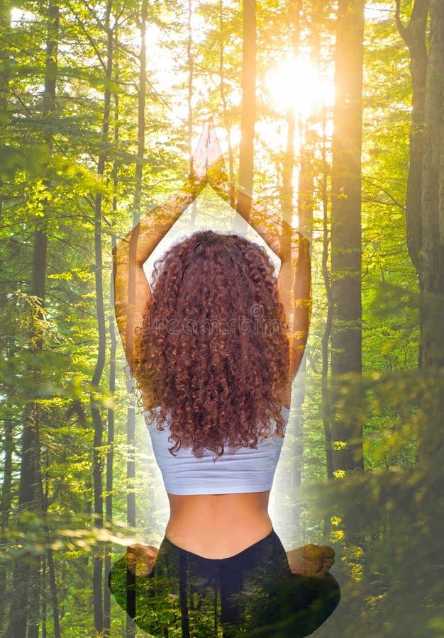 Il collage dall'immagine di giovane donna di misura che fa l'yoga si esercita alla foresta immagine stock libera da diritti