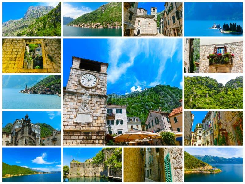Il collage dalle immagini di Cattaro in un bello giorno di estate immagine stock