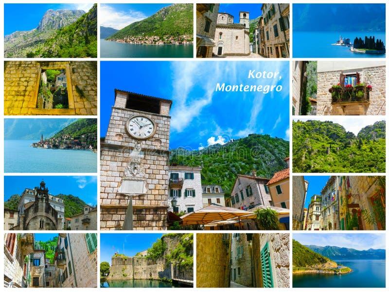 Il collage dalle immagini di Cattaro in un bello giorno di estate immagini stock libere da diritti