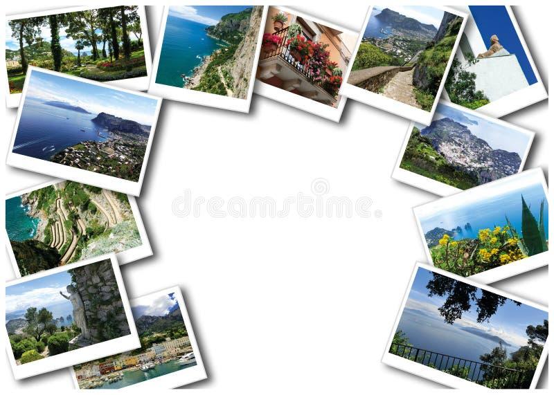 Il collage dalle viste dell'isola di Capri, Italia, vicino a Napoli immagine stock