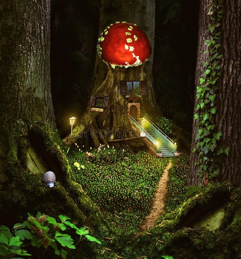 Il collage dei bambini di fiaba con una casa meravigliosa della foresta fotografie stock libere da diritti