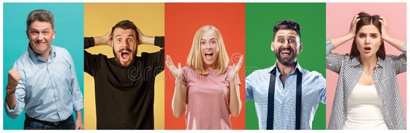 Il collage della gente sorpresa fotografia stock libera da diritti