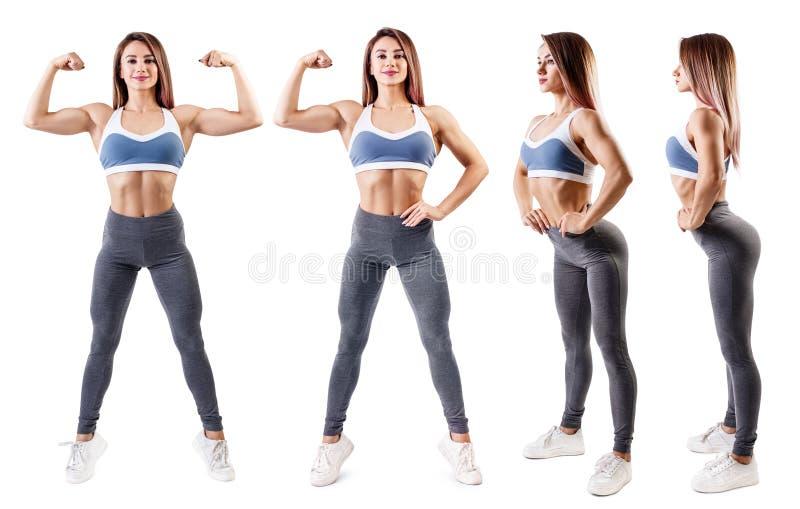 Il collage della giovane donna in abiti sportivi ha dimostrato il suo corpo atletico muscolare immagine stock