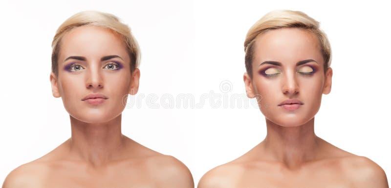 Il collage della ragazza con gli occhi aperti e chiusi e perfetto compone immagine stock