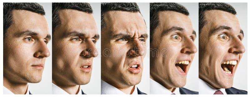 Il collage delle espressioni facciali, delle emozioni e delle sensibilità umane differenti immagini stock