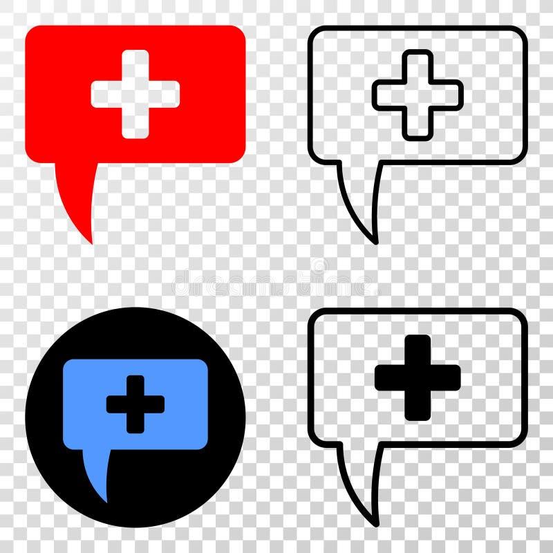 Il collage di Gradiented ha punteggiato il suggerimento del messaggio ed il bollo medici di Grunged illustrazione vettoriale