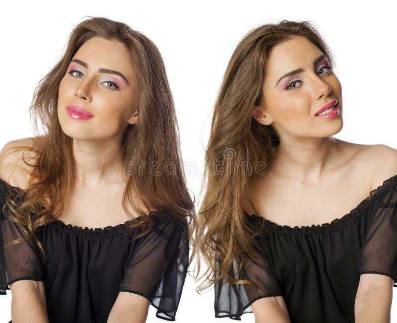 Il collage, due belle ragazze castane con l'acconciatura e compone immagini stock libere da diritti