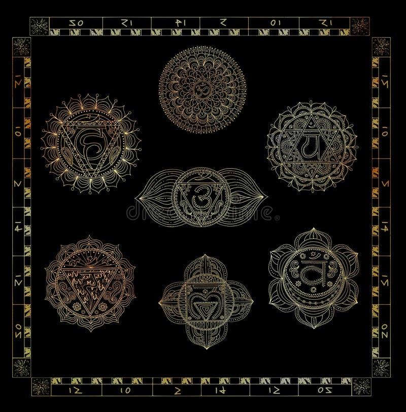 Il collage ha messo con i chakras sacrali dell'oro del corpo umano royalty illustrazione gratis