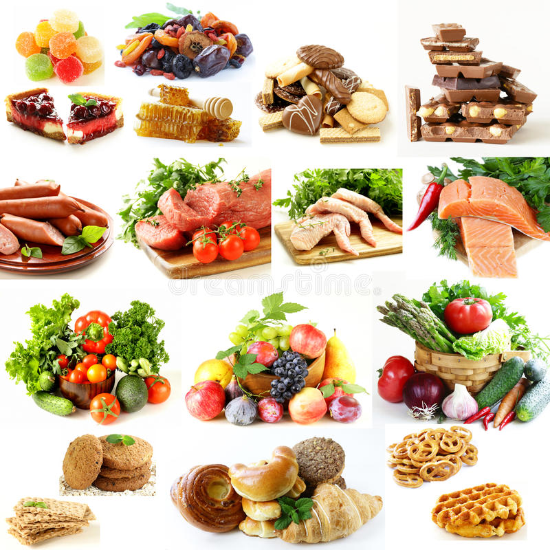 Il collage, ha messo la piramide di alimento, il cibo sano fotografia stock libera da diritti