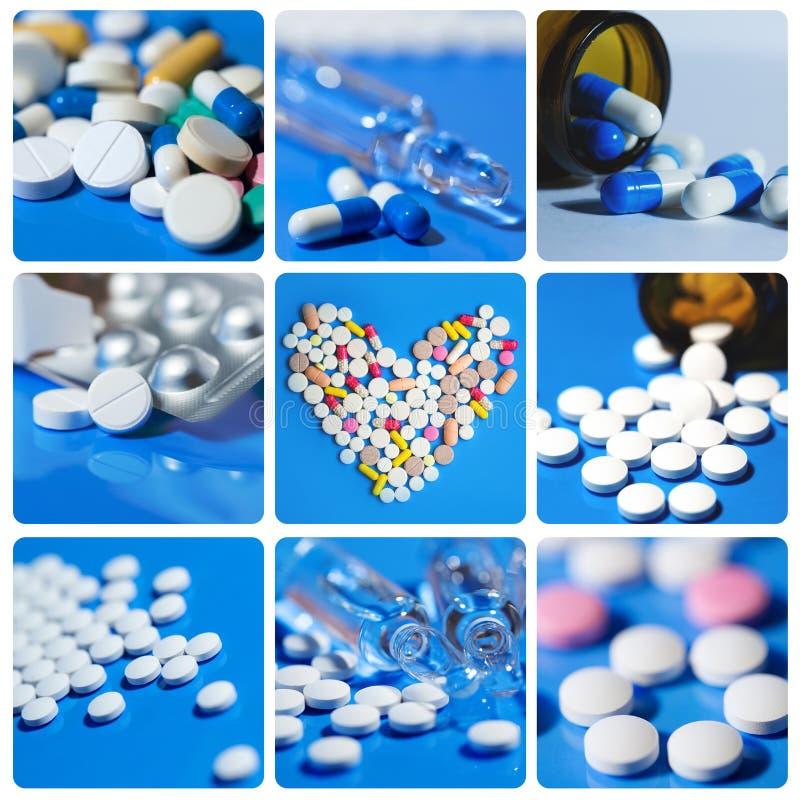 Il collage include le compresse, pillole, farmaci fotografie stock libere da diritti