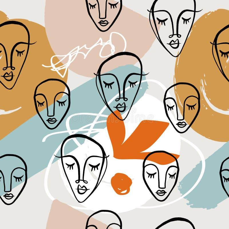 Il collage moderno affronta il modello senza cuciture con le forme astratte, stampa alla moda Vettore ed immagine di jpg, clipart royalty illustrazione gratis