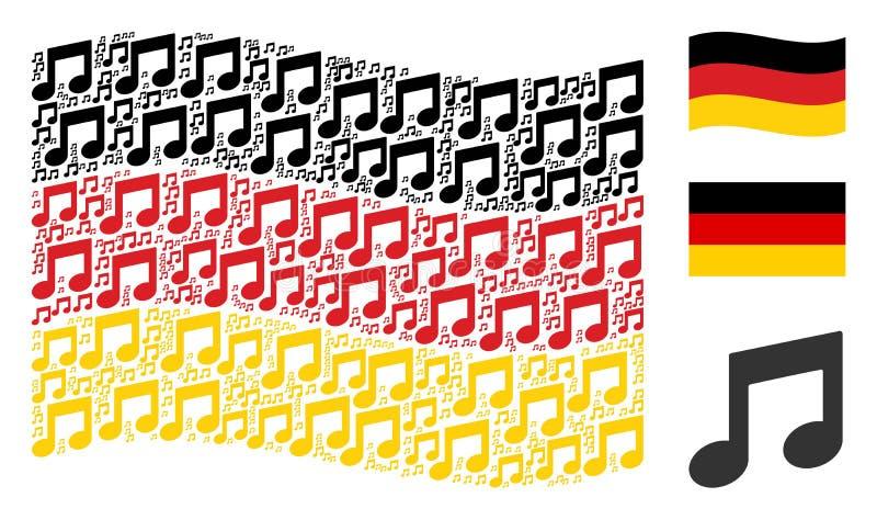 Il collage tedesco d'ondeggiamento della bandiera di musica nota gli oggetti royalty illustrazione gratis