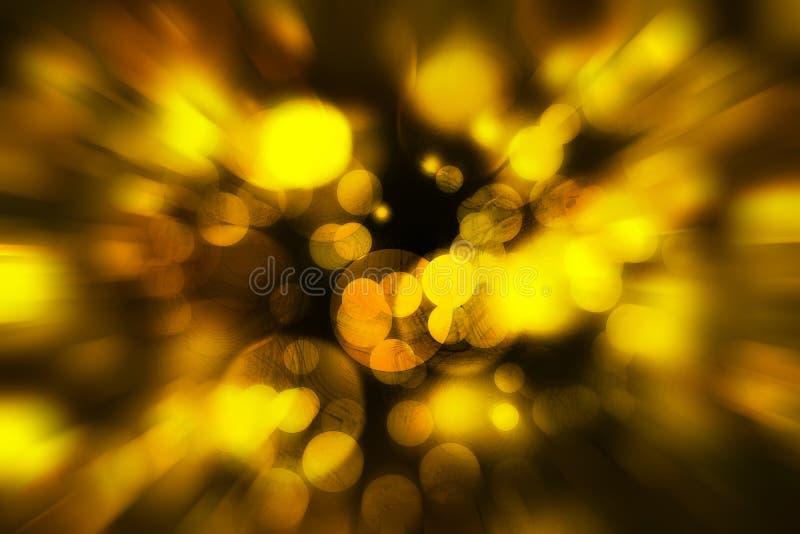 Il colore defocused giallo accende il bokeh con il fondo di struttura, gol fotografia stock libera da diritti