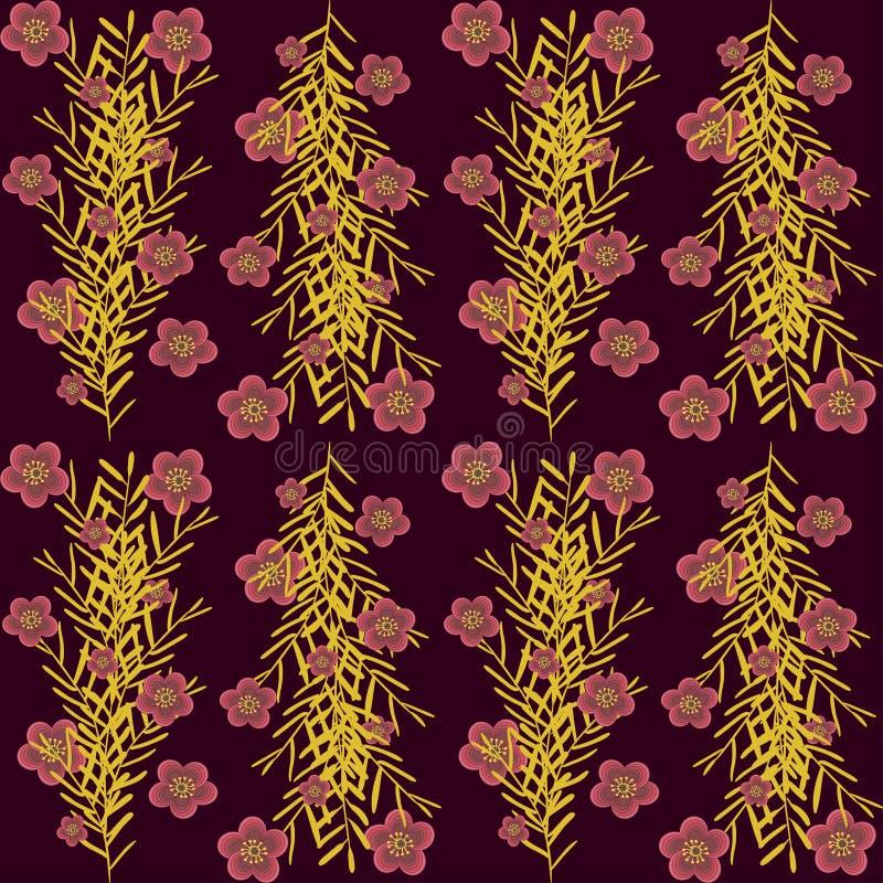 Il colore dell'oro dei rami è aumentato fiori su un colore rosso scuro illustrazione vettoriale