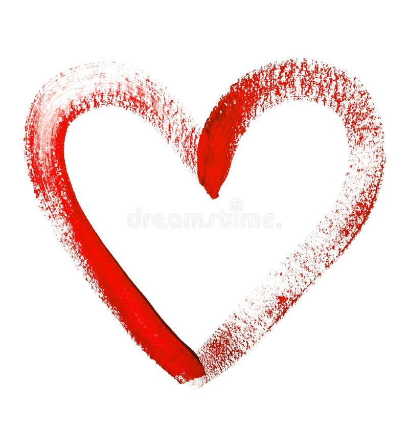Il colore di acqua ha dipinto il cuore rosso su fondo bianco fotografia stock libera da diritti