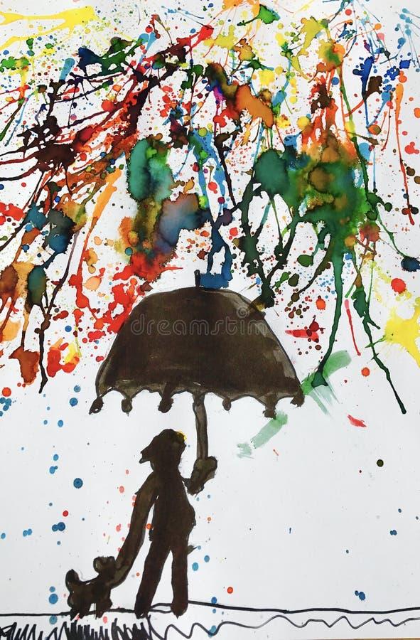 Il colore di acqua ha dipinto un giovane ragazzo con il suo cane che cammina nella pioggia a colori e che tiene un ombrello immagine stock
