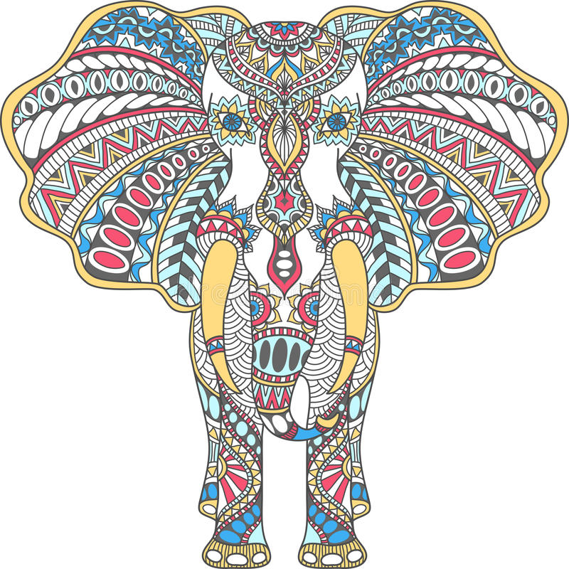 Il colore di vettore ha decorato l'elefante indiano illustrazione di stock