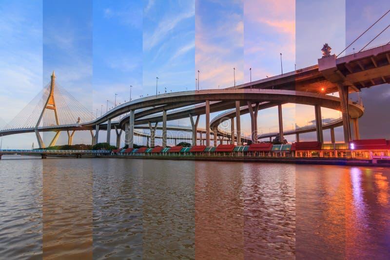 Il colore differente dell'ombra in stessi incornicia il bello grande ponte di Bhumibol immagini stock libere da diritti