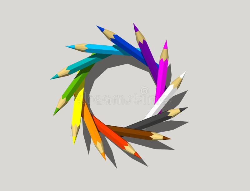 Il colore disegna a matita la struttura Isolato su priorità bassa grigia 3D rappresentazione i illustrazione vettoriale