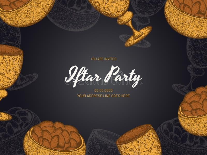 Il colore dorato alla moda dei dolci lancia e vetro su fondo grigio per la carta della celebrazione del partito di Iftar royalty illustrazione gratis