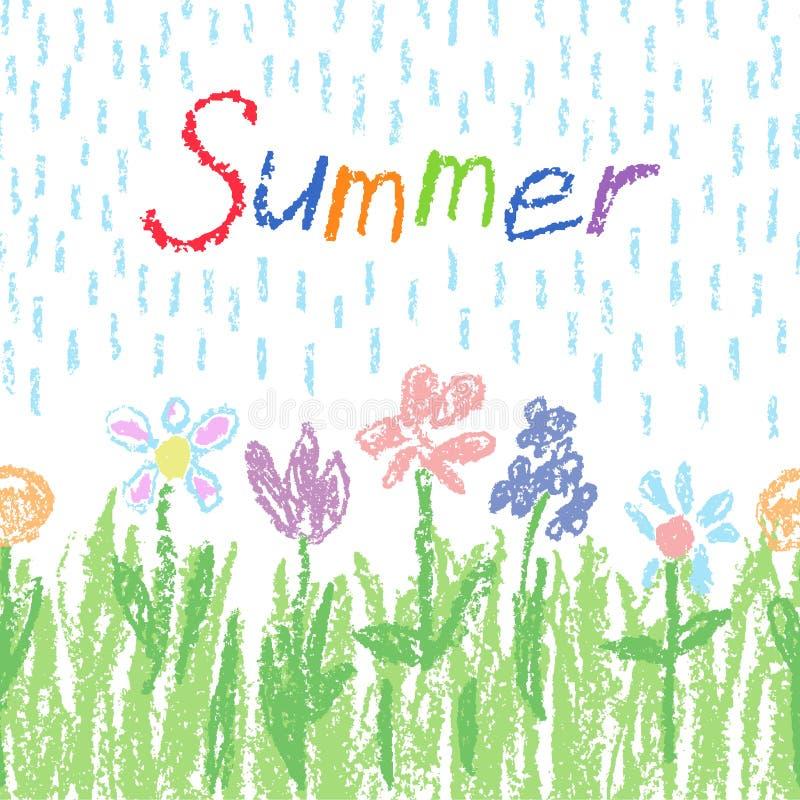 Il colore pastello morbido fiorisce con erba verde, pioggia e testo Il pastello gradisce il fondo divertente variopinto disegnato immagine stock libera da diritti