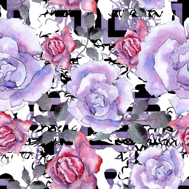 Il colore rosa è aumentato Fiore botanico floreale Modello senza cuciture del fondo illustrazione di stock