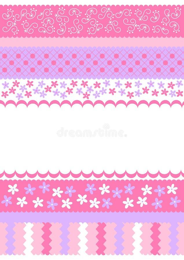 Il colore rosa barra la scheda dell'invito illustrazione di stock