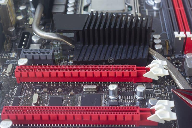 Il colore rosso della scanalatura precisa del PCI per la video carta di VGA della carta grafica sulla scheda madre del computer fotografia stock