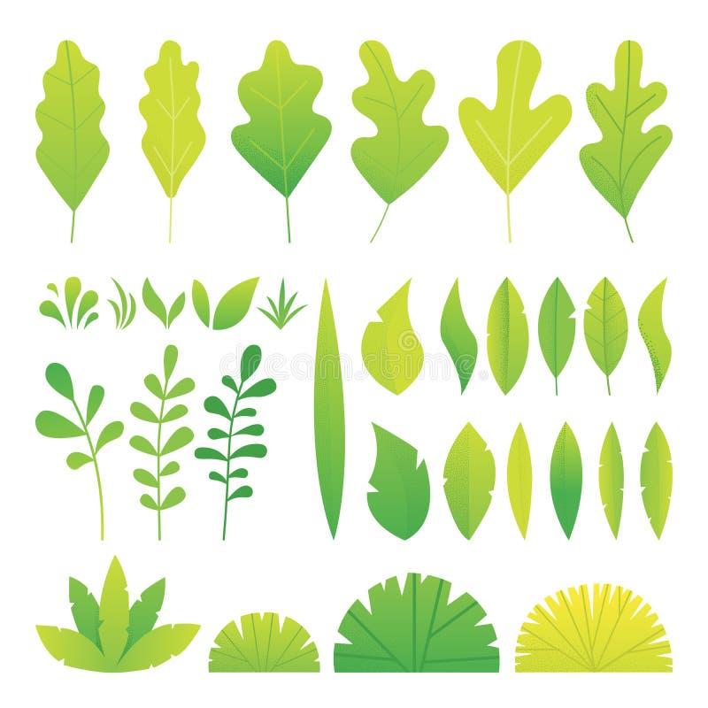 Il colore verde della gradazione lascia l'insieme di pendenza di rumore di spirito Vettore piano di progettazione illustrazione vettoriale