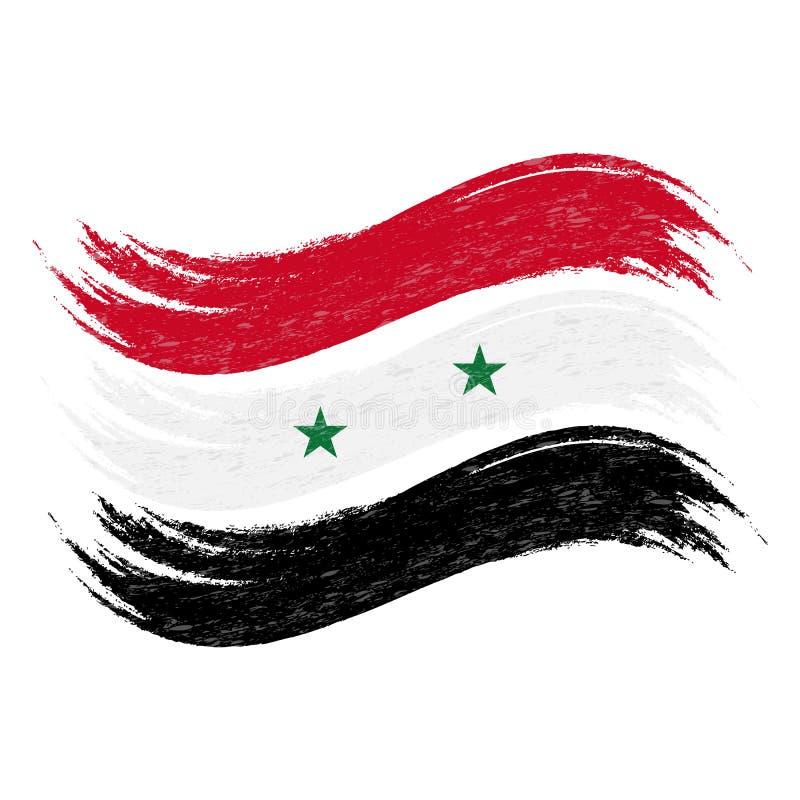 Il colpo della spazzola di lerciume con la bandiera nazionale della Siria ha isolato su un fondo bianco Illustrazione di vettore royalty illustrazione gratis
