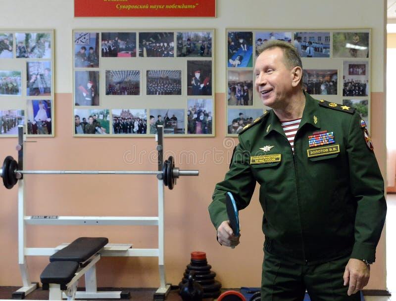 Il comandante in capo delle truppe interne del Ministero degli affari interni della Russia, generale dell'esercito Viktor Zolotov immagini stock