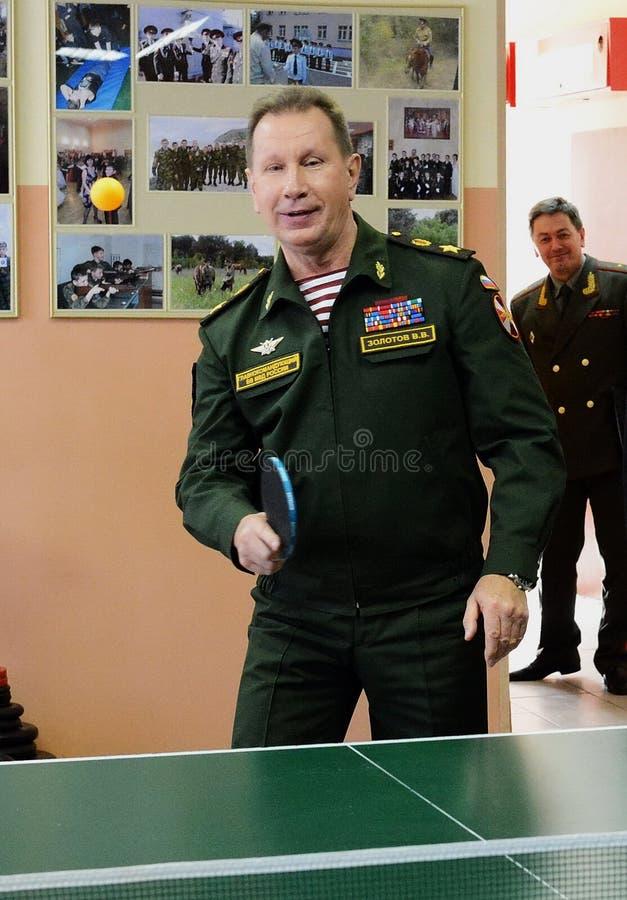 Il comandante in capo delle truppe interne del Ministero degli affari interni della Russia, generale dell'esercito Viktor Zolotov immagini stock libere da diritti