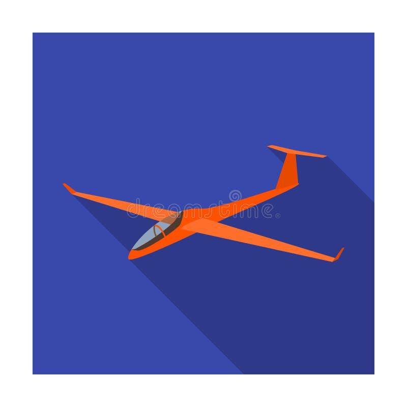 Il combattente arancio Aeroplano ad alta velocità per una persona Trasporti la singola icona nelle azione piane di simbolo di vet royalty illustrazione gratis