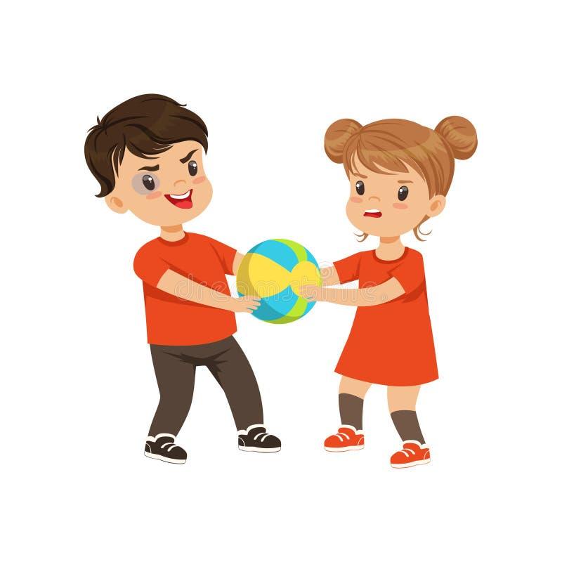 Il combattimento della ragazza e del ragazzo per la palla vector l'illustrazione su un fondo bianco illustrazione vettoriale