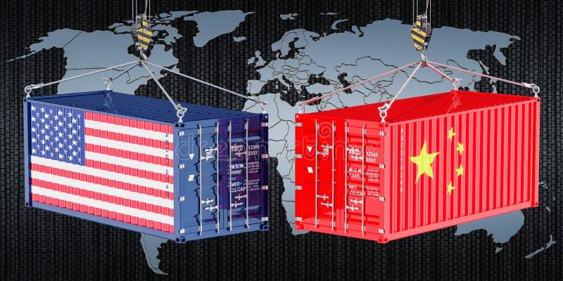 Il commercio e le tariffe della Cina U.S.A. fanno la guerra, concetto rappresentazione 3d illustrazione di stock