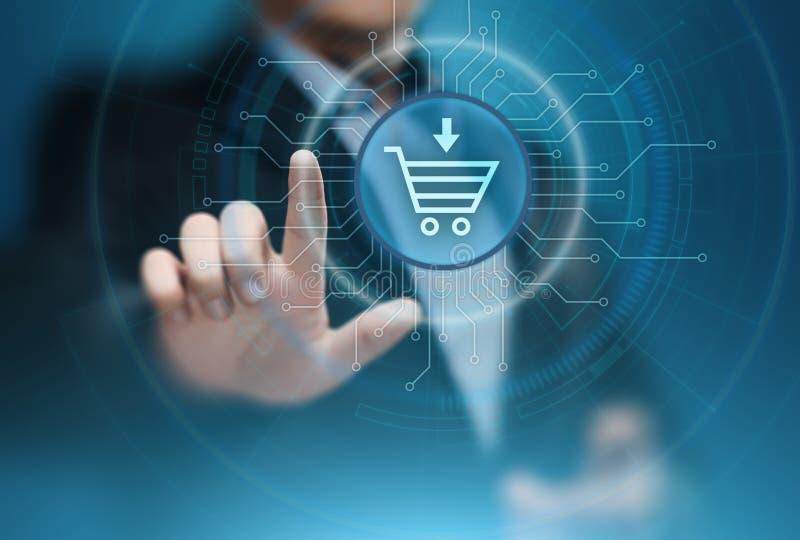 Il commercio elettronico aggiunge al concetto online di Internet della tecnologia di affari di acquisto del carretto fotografia stock