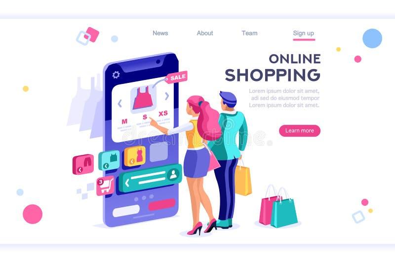 Il commercio elettronico coppia gli elementi dell'insegna del compratore illustrazione vettoriale