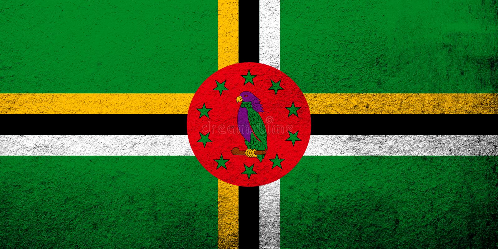 Il commonwealth della bandiera di Dominica National Fondo di lerciume illustrazione di stock