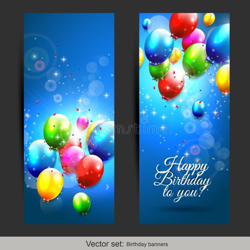 Il compleanno balloons le insegne illustrazione vettoriale