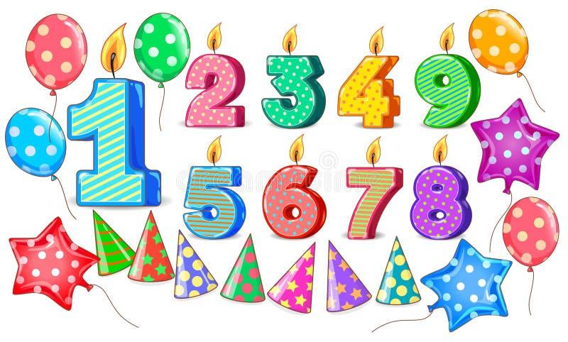 Il compleanno calcola l'insieme luminoso dei coni delle palle della candela per progettazione illustrazione di stock