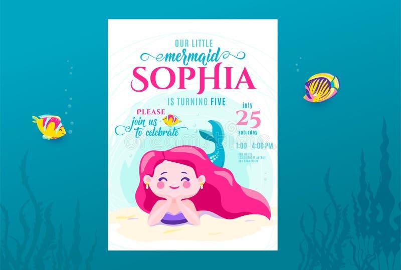 Il compleanno della sirena sveglio invita la progettazione di carta per piccola principessa Anniversario del partito dei bambini  royalty illustrazione gratis