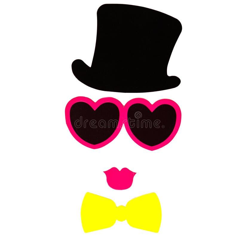 Il compleanno ed il partito di Photobooth hanno messo - i vetri, i cappelli, le corone, maschere immagini stock libere da diritti