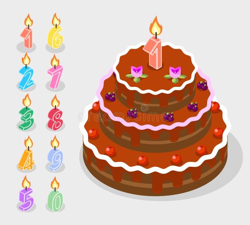 Il compleanno esamina in controluce i numeri 3d del fuoco isometrici illustrazione vettoriale