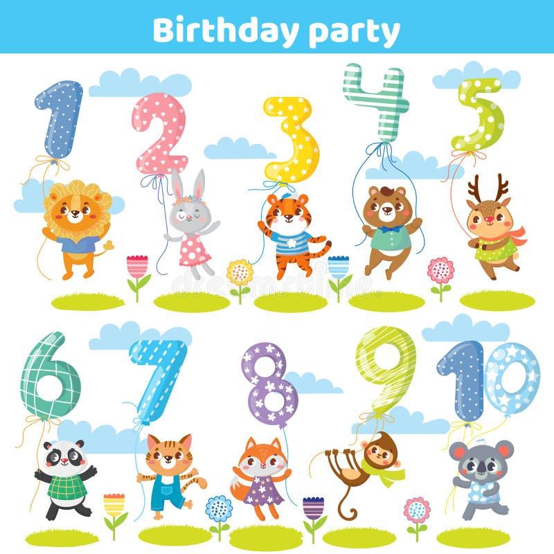Il compleanno numera con gli animali divertenti per la carta dell'invito illustrazione di stock