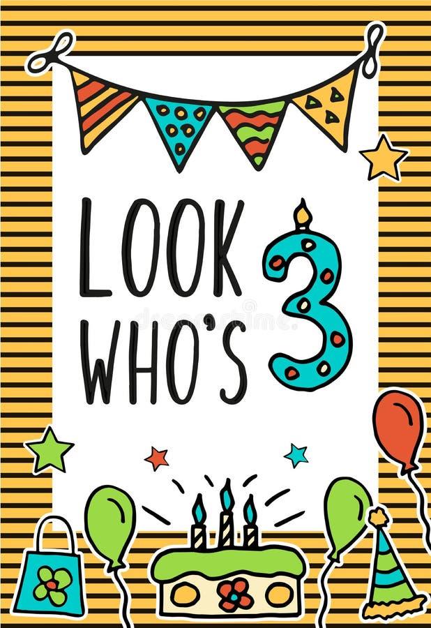 Il compleanno scherza la carta di vettore con la candela numerale variopinta, palloni, dolce, cappello, cocktail per progettare l illustrazione vettoriale