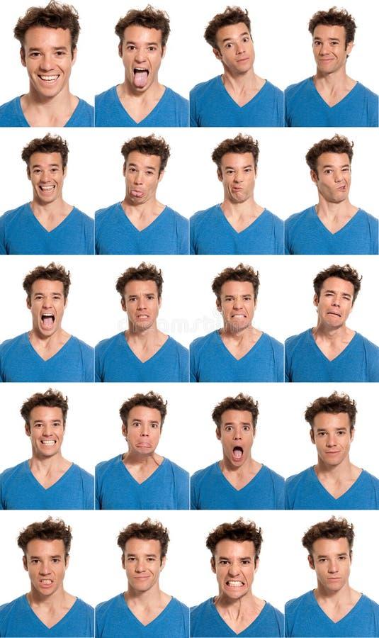 Il composto di espressioni del fronte del giovane ha isolato fotografia stock